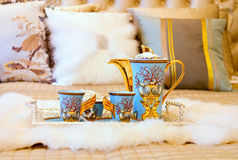 Chinese beverage on wedding bed Royalty Free Stock Photography