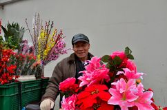 Chinese bicycle flower vendor on street Royalty Free Stock Photos