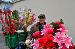 Chinese bicycle flower vendor on street, Shanghai China Stock Photo