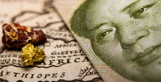 Chinese bill, minerals & map of Africa Royalty Free Stock Photos