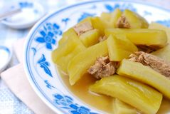Chinese bitter gourd and meat cuisine Royalty Free Stock Photo