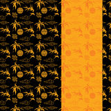 Chinese black and gold bamboo pattern vertical banner Royalty Free Stock Photo