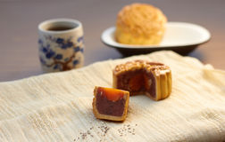 Chinese Black Sesame Mooncake with Egg Yolk Royalty Free Stock Photos