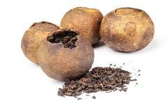 Chinese black tea Pu-erh isolated. Chinese black tea Pu-erh packed in dried mandarins isolated on white Stock Image