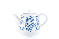 Chinese blauwe en witte porseleintheepot Stock Afbeelding