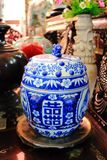 Chinese blue porcelain Stock Photography