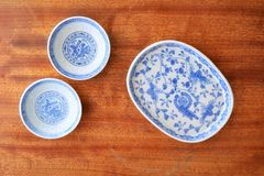 Chinese blue and white dishes Royalty Free Stock Images