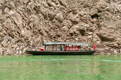 Chinese boat moored to the shore Royalty Free Stock Images