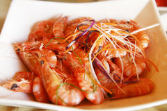 Chinese boiled shrimp. Delicious boiled shrimp in China Stock Photography