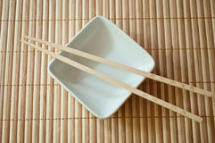 Chinese bowl with Chinese chopsticks Royalty Free Stock Photo