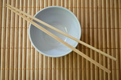 Chinese bowl with Chinese chopsticks Royalty Free Stock Image