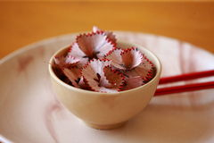 Chinese bowl with chop-sticks. Shot of a chinese bowl with chop-sticks Royalty Free Stock Images
