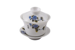 Chinese bowl with cover and saucer Stock Image