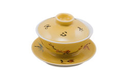 Chinese bowl with cover and saucer Royalty Free Stock Images