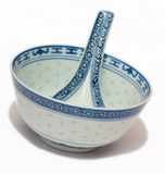 Chinese Bowl and Spoon royalty free stock photos