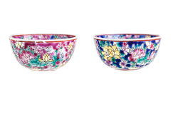 Chinese bowls. Two small chinese soup bowls isolated over a white background Stock Image