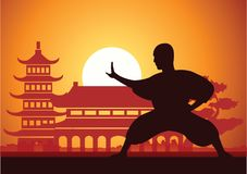 Chinese Boxing Kung Fu martial art. Famous sport,monk Train to fight,around with Chinese temple,sunset silhouette design Royalty Free Stock Photo