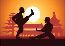 Chinese Boxing Kung Fu martial art. Famous sport,two boxer fight together around with Chinese temple,sunset silhouette design Stock Photography