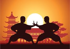 Chinese Boxing Kung Fu martial art. Famous sport,two boxer fight together around with Chinese temple,sunset silhouette design Stock Photos