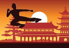 Chinese Boxing Kung Fu martial art famous sport. Monk Train to fight,around with Chinese temple,sunset silhouette design Royalty Free Stock Photography