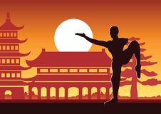 Chinese Boxing Kung Fu martial art famous sport,monk Train to fight,around with Chinese temple. Sunset silhouette design Stock Photo