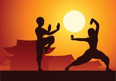 Chinese Boxing Kung Fu martial art famous sport,two boxer fight stock illustration