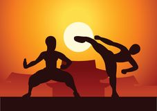 Chinese Boxing Kung Fu martial art famous sport,two boxer fight. Together around with Chinese temple,sunset silhouette design Stock Image