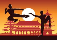 Chinese Boxing Kung Fu martial art famous sport,two boxer fight together around with Chinese temple. Sunset silhouette design Stock Photos
