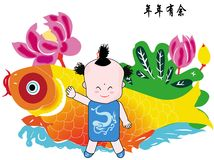 A chinese boy. A boy is playing with a fish Stock Image