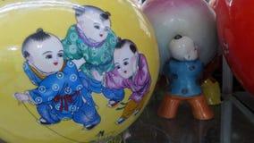 Chinese boy on China vase Royalty Free Stock Image