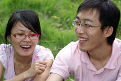 Chinese boy and chinese girl Royalty Free Stock Images