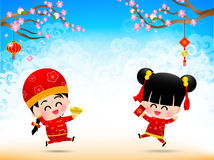 Chinese boy and chinese girl cartoon have smile and jumping with Stock Photography