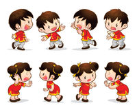 Chinese boy girl actions. Cute chinese boy girl character actions Stock Images