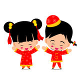 Chinese boy and girl for new year design and decoration on the w Royalty Free Stock Image