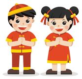 Chinese boy and girl standing respect. Happy chinese new year. Chinese boy and girl standing respect on the white background Stock Photo