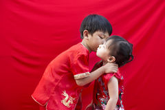 Chinese boy and girl in traditional Stock Photography