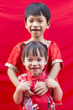 Chinese boy and girl in traditional Royalty Free Stock Photography