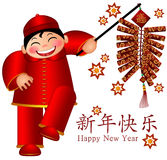 Chinese Boy Holding Firecrackers Happy New Year Stock Photo