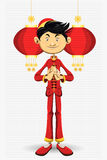 Chinese Boy New Year Greeting Card. An Illustration Of Chinese Boy New Year Greeting Card. Useful As Icon, Illustration And Background For Chinese New Year Theme stock illustration
