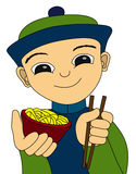 Chinese boy and noodles Stock Image