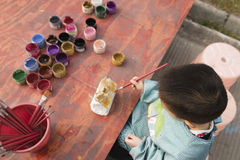 Chinese boy painting Royalty Free Stock Photography