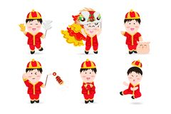 Chinese boy, people cute characters cartoon mascot, Chinese New Year, lion dance, firecracker, kung fu, pig and aerialist festive stock illustration