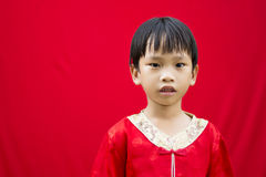 Chinese boy in red traditional Royalty Free Stock Photography