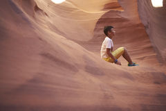 Chinese boy traveling in Antelope Canyon, USA Stock Photography