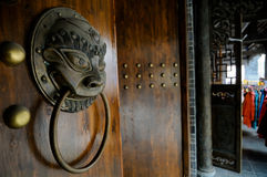 Chinese brass door knocker Royalty Free Stock Photos