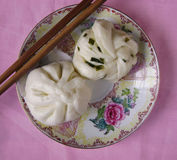 Chinese breakfast - steamed bun and steamed twisted roll Royalty Free Stock Photo