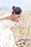 Chinese  bride on a field Stock Images