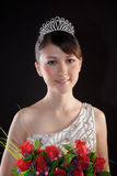 Chinese bride with flowers Stock Photos