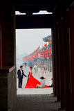 Chinese bride in red dress Royalty Free Stock Photo