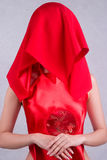 Chinese bride with red veil Royalty Free Stock Photography
